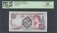 ISLE OF MAN 5 POUNDS ND 1979  P35S SPECIMEN CHOICE UNCIRCULA