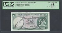 SCOTLAND ONE POUND 4 1 1984 P341BS SPECIMEN  UNCIRCULATED