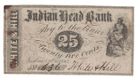 U.S.  NASHUA NH    OCTOBER 1ST 1862 25 CENTS BANKNOTE  INDIAN HEAD BANK
