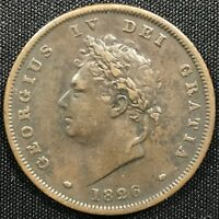 1826 GREAT BRITAIN GEORGE IV 1 PENNY XF GRADE COIN