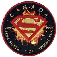 2016 1 OZ CANADIAN SILVER SUPERMAN COIN .9999 BLACK RED SHIE
