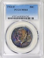 1964 D TONED SILVER KENNEDY HALF DOLLAR PCGS MS64   TONING   COLOR
