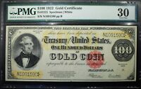 1922 $100 GOLD CERTIFICATE FR1215 PMG VF30   BEAUTIFUL EMBOSSING CHOICE EXAMPLE