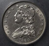 1834 CAPPED BUST SILVER QUARTER ICG AU58   CHOICE ALMOST UNCIRCULATED GEM