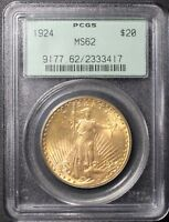 1924 SAINT ST GAUDENS $20 GOLD DOUBLE EAGLE PCGS OGH MS62   OLD GREEN HOLDER