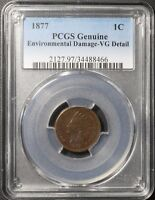 1877 INDIAN HEAD CENT PENNY PCGS VG DETAILS   KING OF THE INDIAN HEADS
