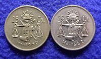 MEXICO 25 CENTAVOS 1950 AND 1952   2 SILVER COINS KM 443  1564
