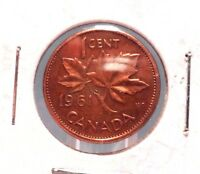 CIRCULATED 1961 1 CENT CANADIAN COIN