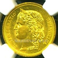 SWITZERLAND 1883 GOLD COIN 20 FRANCS   NGC CERTIFIED GENUINE MS 61   GORGEOUS