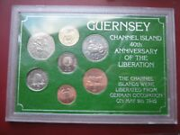GUERNSEY 1985 LIBERATION 7 COIN SET COLLECTION PENNY TO 1 POUND PLASTIC CASE