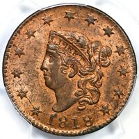 1818 N 10 PCGS MS63RB CORONET HEAD LARGE CENT COIN 1C