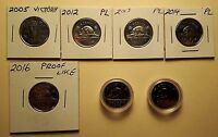 CANADA 1986 1987 2005 2012 2013 2014 2016 PROOF LIKE 5 CENT   7  COINS 25