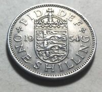 GREAT BRITAIN  UK  1954 ONE SHILLING COIN   QUEEN ELIZABETH