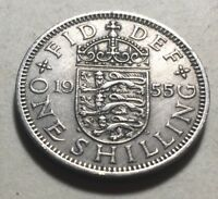 GREAT BRITAIN  UK  1955 ONE SHILLING COIN   QUEEN ELIZABETH