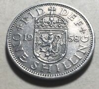 GREAT BRITAIN  UK  1958 ONE SHILLING COIN   QUEEN ELIZABETH