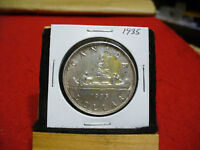 1935  CANADA  SILVER    DOLLAR   GOOD   GRADE    35   SEE PHOTOS   OLD CLEANING