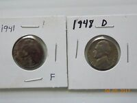 1941 AND 1948D  JEFFERSON NICKEL