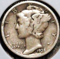 SILVER MERCURY DIME   1928 D   EARLY DATES    $1 UNLIMITED SHIPPING