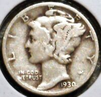 SILVER MERCURY DIME   1930   EARLY DATES    $1 UNLIMITED SHIPPING