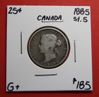 1885 ST. 5 25 CENT CANADA SILVER TWENTY FIVE CENTS ZC 101   $185 G