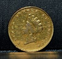 1854 P $1 GOLD DOLLAR  POLISHED/CLEANED  JEWELRY PIECE TYPE 2 DETAILSTRUSTED