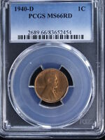 1940-D 1C RD LINCOLN CENT 1 PCGS MINT STATE 66RD