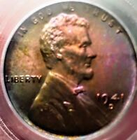 1941-D MONSTER TONED PCGS MINT STATE 64RB LINCOLN ONLY 21 EXIST RICKSCAFEAMERICAN.COM