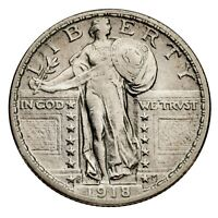 1918-S SILVER STANDING LIBERTY QUARTER 25C ABOUT UNCIRCULATED, AU CONDITION