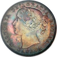 1858 CANADIAN SILVER 20 CENTS PCGS / ICCS SP 65  HEAVY CAMEO