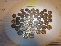 HIGH LUSTER LINCOLN PENNY LOT50 SOME 1940'S MOSTLY 1950'S, SHIPS FREE - L2