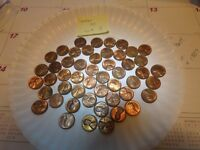 HIGH LUSTER LINCOLN PENNY LOT50 SOME 1940'S MOSTLY 1950'S, SHIPS FREE - L3