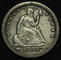1854 O SEATED LIBERTY SILVER QUARTER   KEY DATE