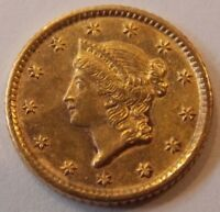 ANTIQUE  1853 LIBERTY HEAD 1 DOLLAR GOLD US COIN DAMAGED