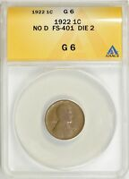 1922 NO D STRONG REVERSE LINCOLN WHEAT CENT ANACS G 06   DIE  2 FS 401