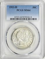 1911 D BARBER HALF DOLLAR PCGS MS 64   WHITE LUSTROUS UNCIRCULATED