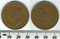 NEW ZEALAND 1945   1 PENNY BRONZE COIN   KING GEORGE VI   TUI BIRD   WWII