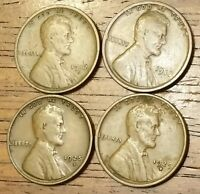 1917S 1918D 1925D 1929D LINCOLN WHEAT CENT PENNY GOOD TO FINE
