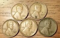 1923 1924 1925S 1927S 1929S  LINCOLN WHEAT CENT PENNY GOOD TO  FINE