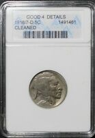 1918/7 D BUFFALO INDIAN HEAD NICKEL ANACS G 04 DETAILS    1918 OVER 7   1918/7 D
