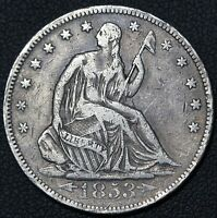 1853 W/ ARROWS AND RAYS SEATED LIBERTY SILVER HALF DOLLAR