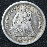1840 O WITH DRAPERY SEATED LIBERTY SILVER HALF DIME