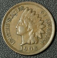 1906 INDIAN HEAD CENT PENNY   FULL LIBERTY   SOME DETAIL IN DIAMONDS