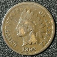 1865 INDIAN HEAD CENT PENNY   SLIGHTLY ROTATED REVERSE