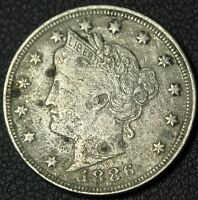 1886 LIBERTY V NICKEL   NICE DETAILS    FULL LIBERTY   CORROSION   KEY DATE