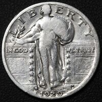 1929 S STANDING LIBERTY SILVER QUARTER  CLEANED