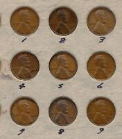 1933-P CIRCULATED LINCOLN CENTS LOT OF 9 COINS