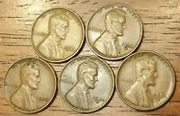 1932 1932D 1935 1935D 1935S LINCOLN WHEAT CENT PENNY  FINE TO AU