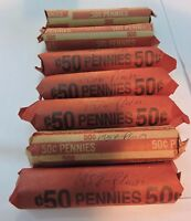WHEAT PENNIES ROLLS 7  ROLLS FROM 1948 TO 1958 50 COUNT EACH V104