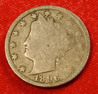 1896 LIBERTY V NICKEL G  DATE BEAUTIFUL COLLECTOR COIN GIFT LN336