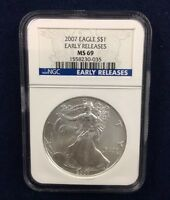 2007 SILVER EAGLE MINT STATE 69 NGC EARLY RELEASES